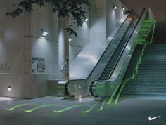 The Print Ad titled ESCALATOR was done by DDB Paris advertising agency for product: Retro Running Shoes (brand: Nike) in France. Grand Prix, Nike France, Paris, Print Ads, Landscape Photography, Architecture, Artists, Sony, Draw