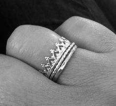 Princess Crown Ring Stacking Set by MountainMetalcraft on Etsy