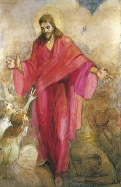 Minerva Teichert - Christ in a Red Robe This is currently my favorite picture of Jesus. It's at the end of the hall in the Sacramento Temple. Minerva has mastered the Master. Minerva Teichert, Paintings Of Christ, Spiritual Paintings, Pictures Of Christ, Bible Pictures, Lds Art, Christian Art, Religious Art, Framed Art