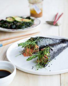 Smoked Salmon Handrolls with Wakame Salad