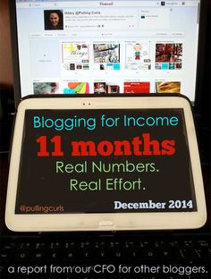 The income I made for blogging in my 11th month of effort.  An exciting, time consuming venture!