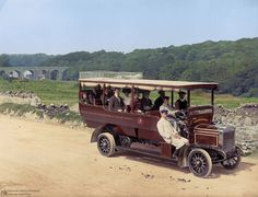 Bowling along in their motor, ca. 1907 : ColorizedHistory
