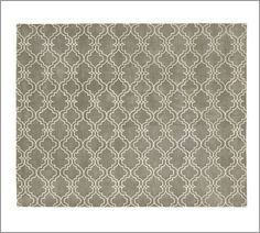 Would be an option in living room or we could use the natural fiber rugs in living room too.  Scroll Tile Rug - Gray | Pottery Barn, 8x10 $509