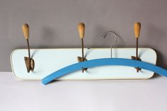 #Small #coatrack #50s #60s #lightblue #pastelblue #towelhooks #wallhooks #vintagebar #vintage #board, #giftgirlfriend #giftwife #wohnraumformer
