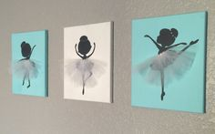 Set of 3 Dancing Ballerinas Wall art in blue grey and white Diy And Crafts, Crafts For Kids, Arts And Crafts, Ballerina Ornaments, Ballerina Silhouette, Canvas Art, Canvas Paintings, Kids Room Art, Blue Grey