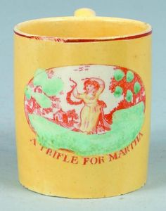 "Canary Yellow Lustreware China Child's Mug with polychrome Medallion Scene of young lady with cottage and landscape, titled ""A Trifle for Martha"" with applied C-shaped handle. 2-3/4"" high. 375."