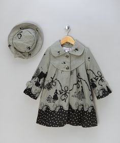 6b43fff3023 Grey   Black Printed Coat   Hat - Infant