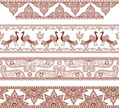 A series of ornately detailed border designs inspired by the art of mehndi . Mehndi Patterns, Indian Patterns, Embroidery Patterns, Border Embroidery, Madhubani Art, Madhubani Painting, Henna Tattoo Designs, Mehndi Designs, Mehndi Style
