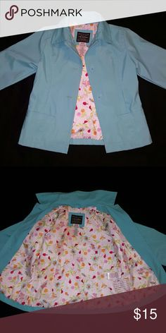 Girls jacket Turquoise jacket in great condition just missing belt. Polyvinyl and polyester. Good for rain and wind. Arizona Jean Company Jackets & Coats Raincoats