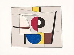 Albert Johansson. Komposition, signerad Albert Johansson, E.A., färgetsning, 42x52 cm; oramad