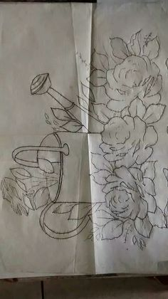 Risco Ana Laura Bed Sheet Painting Design, Stencil Painting, Painting Patterns, Fabric Painting, Embroidery Flowers Pattern, Embroidery Applique, Embroidery Designs, Sketchbook Drawings, Easy Drawings