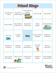 LeapFrog printable: Friend Bingo