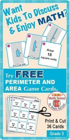 Students using this FREE set of 36 printable cards for Grade 3 will match rectangles with the same area but different perimeters. The set comes with instructions for four fun games with variations for different ability levels. ~by Angie Seltzer