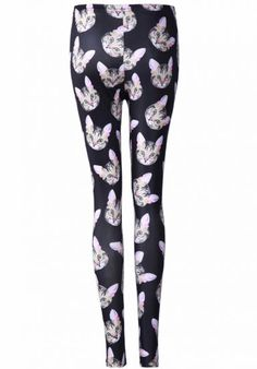Black Skinny Cats Print Leggings - Sheinside.com Probably pushing it, but ...  cats!!!!!