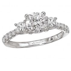 Trellis 3-Stone Semi-Mount Ring $2,579 Style: 117474-100 3-Stone Graduated Diamond Ring in 18kt White Gold with Trellis Design. (D1/2 carat total weight) This item is a SEMI-MOUNT and it comes with NO CENTER STONE as shown but it will accommodate a 6.5mm round center stone.