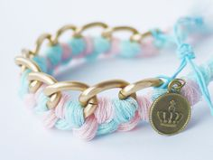 Cute candy pink and blue bracelet. Love the pastel colors.