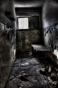 I chose a picture of a jail cell because a turning point in the plot is when CJ's father punches a gas station worker in the face for being disrespectful to him and he got put into jail while the rest of his family was left alone. Abandoned Prisons, Abandoned Mansions, Abandoned Buildings, Abandoned Places, Prison Art, Prison Cell, Jail Cell, Haunted Asylums, London Wall