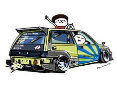"car illustration ""crazy car art"" jdm japanese old school ""WONDER CIVIC"" original characters ""mame mame rock"" / © ozizo ""Crazy Car Art"" Line stickers LINE STORE http://line.me/S/shop/sticker/author/92016 ""Telegram..."