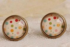 Dotty Cabochon Earrings - fabulous! £2.50 per pair