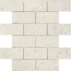 Marfil Polished Marble Natural Stone Mosaic Subway Wall Tile (Common: 12-in x 12-in; Actual: 12-in x 12-in)