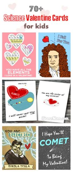 How fun! Over 70 science Valentine cards for kids. Kids will find cool pictures and catchy lines on these cards, and will learn science and scientists too. There will be subjects like physics, chemistry, animals, … Great way to spark kids interest in science.