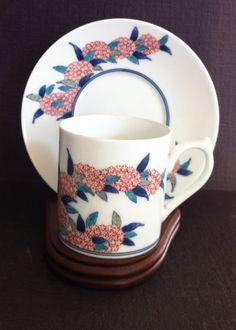 Rare Vintage Japanese Nabeshima Cup, Saucer & Display - Toguri Museum of Art Set