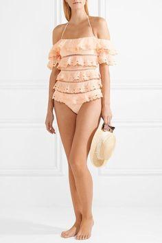 Zimmermann | Painted Heart Love mehrstufiger Badeanzug aus Spitze mit eingewebten Punkten und Leiterhohlstich | NET-A-PORTER.COM