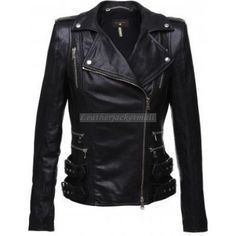 Women pure black slim fit leather jacket double zipper and side buckles FREE shipping for USA. Only $149.99