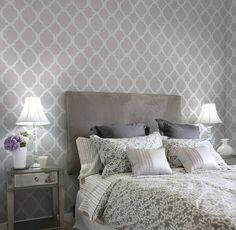 Stenciled accent wall. Definitely doing this, just not sure where yet!