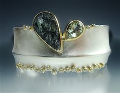 Danielle Miller-Gilliam _ Sterling, 18k gold, 14k gold, natural surface green tourmaline, green beryl, diamonds.