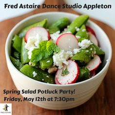 Spring Salad Potluck Party! Friday, May 12th at 7:30pm! Bring a salad to pass and/or just bring yourself and be ready to dance either way! Spring and fun are in the air!