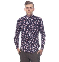 Slim Fit Button Down Shirt-Navy Rose Floral