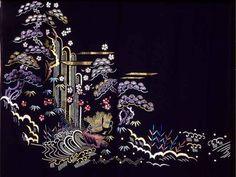 "Japanese Embroidery Sashiko Padded ""Matsu ni Taki - Pine and Waterfall"""