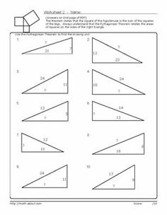 Printables Geometry Honors Worksheets practice using the pythagorean theorem with these geometry worksheets worksheet 2
