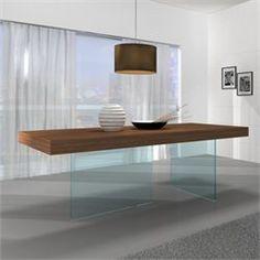 J&M Furniture Elm Chestnut Wood Glass Leg Dining Table in Walnut