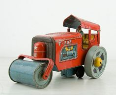 Vintage Tin toy   Red steam roller  Road by CrystalBlueVintage