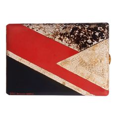 PAUL BRANDT. Gilded Metal And Lacquer Cigarette Case.  The rectangular case applied with a geometrical design in red and black lacquer and further accented with eggshell lacquer sections, circa 1929, signed Paul Brandt Paris.