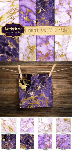 Purple and Gold Marble Textures. Textures. $5.00