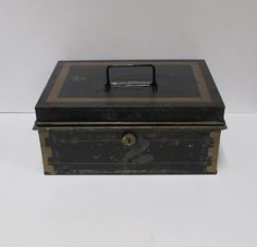 Vintage Black Metal Cash Box Document Holder Chippy Rustic Tin Bin Farmhouse Relic (25.00 USD) by retrogal415