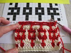 Mosaic crochet introduction and first steps in flat mosaic crochet – Annette Petavy Design Crochet Stitches Patterns, Crochet Chart, Knit Or Crochet, Cute Crochet, Crochet Designs, Double Crochet, Single Crochet, Bulletins, Manta Crochet