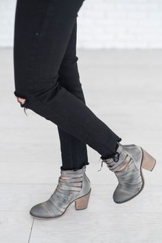 Stacked heel strappy leather ankle boots with full coverage to mid-instep. Zip up closure on back. *By Free People *Artisan crafted from fine leathers and premium materials, FP Collection shoes are co