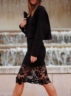Leather and Lace. YES to this outfit/idea. and also 'leather and lace' sounds like such a sexy phrase, loveeee it. either that or a tough girl band haha Look Fashion, Winter Fashion, Fashion Hair, Fashion Black, Girl Fashion, Womens Fashion, Lace Skirt, Lace Dress, Lace Outfit