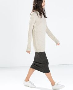 MINIMAL + CLASSIC:  long sweater with jersey pencil skirt