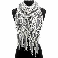 Luxury Divas White & Grey Bountiful Ruffled Double Layer Knit Scarf