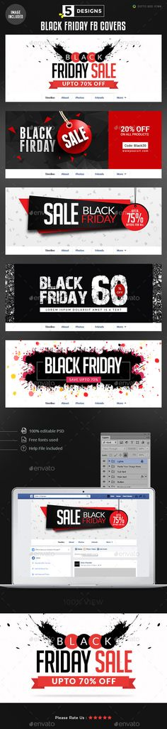 Black Friday Facebook Covers - 5 Designs - Images Included - Templates PSD