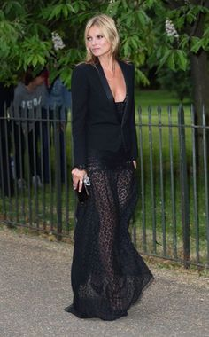 Kate Moss in an Alessandra Rich dress Saint Laurent jacket