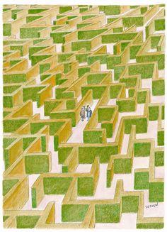 Sempé - Labyrinthe - Une rencontre... Le fruit du hasard ?
