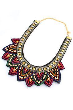 Tribal Beaded Mock Collar Necklace - OASAP.com
