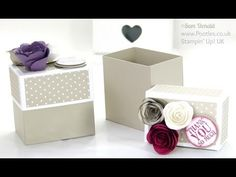 Rectangular Lidded Box Tutorial with Roses using Stampin' Up! Spiral Flower Die