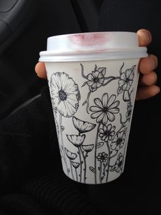 #lipstick smudge on hand #doodled cup - #coffeecupart
